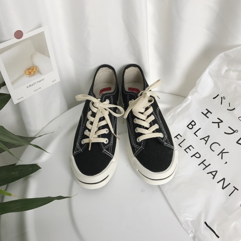 South Korea ulzzang Harajuku canvas shoes students open smile shoes ins star with the same paragraph wind shoes winter 40