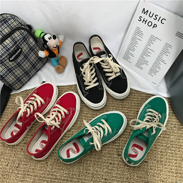 South Korea ulzzang Harajuku canvas shoes students open smile shoes ins star with the same paragraph wind shoes winter 38