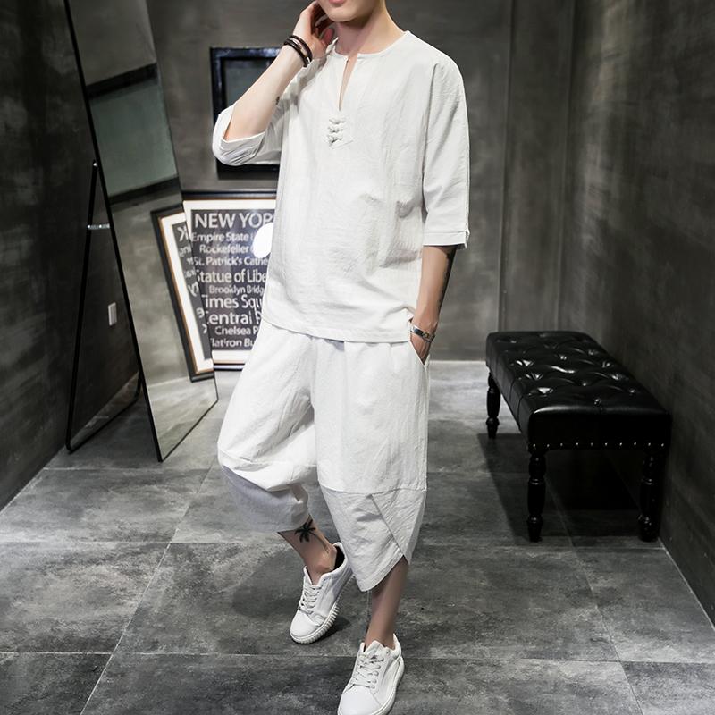 Bộ đồ cotton và vải lanh mùa hè của người Trung Quốc phù hợp với áo thun hai mảnh rời cộng với chất béo cộng với size áo thun 7 điểm chất béo - Bộ đồ