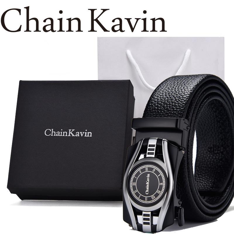 (用150元券)专柜ChainKavin/CK-06皮带男真皮商务自动扣青年牛皮腰带原版礼盒