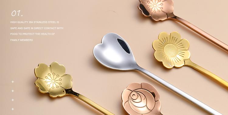 十宿家居可爱不锈钢勺子家用长柄勺爱心勺冰淇淋勺咖啡甜品搅拌勺详细照片