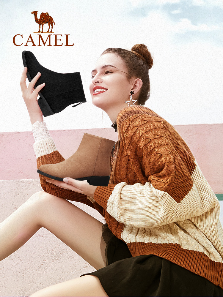 Camel 201 spring boots thin boots women scrub small flat shoes with Chelsea plus velvet boots