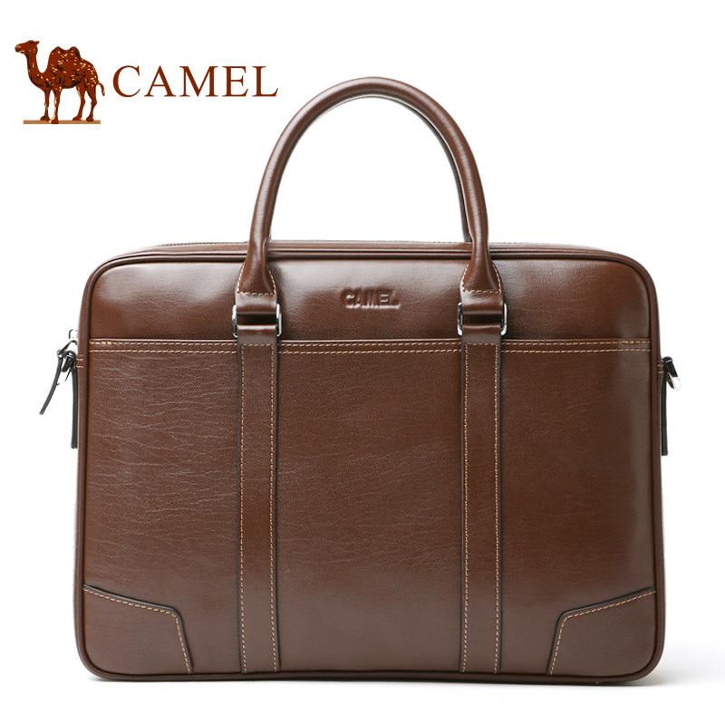 骆驼男包公文包商务休闲男士真皮手提包头层牛皮单肩斜挎包电脑包