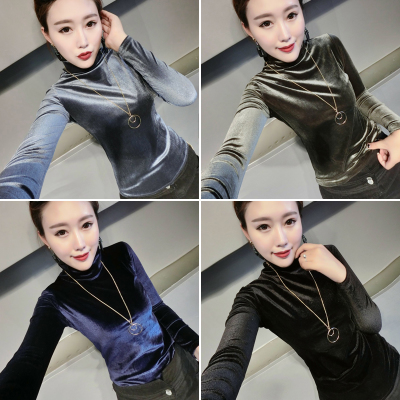 Autumn new women's autumn clothing to wear high-collar lace shirt mesh gold velvet shirt shirt long-sleeved t-shirt