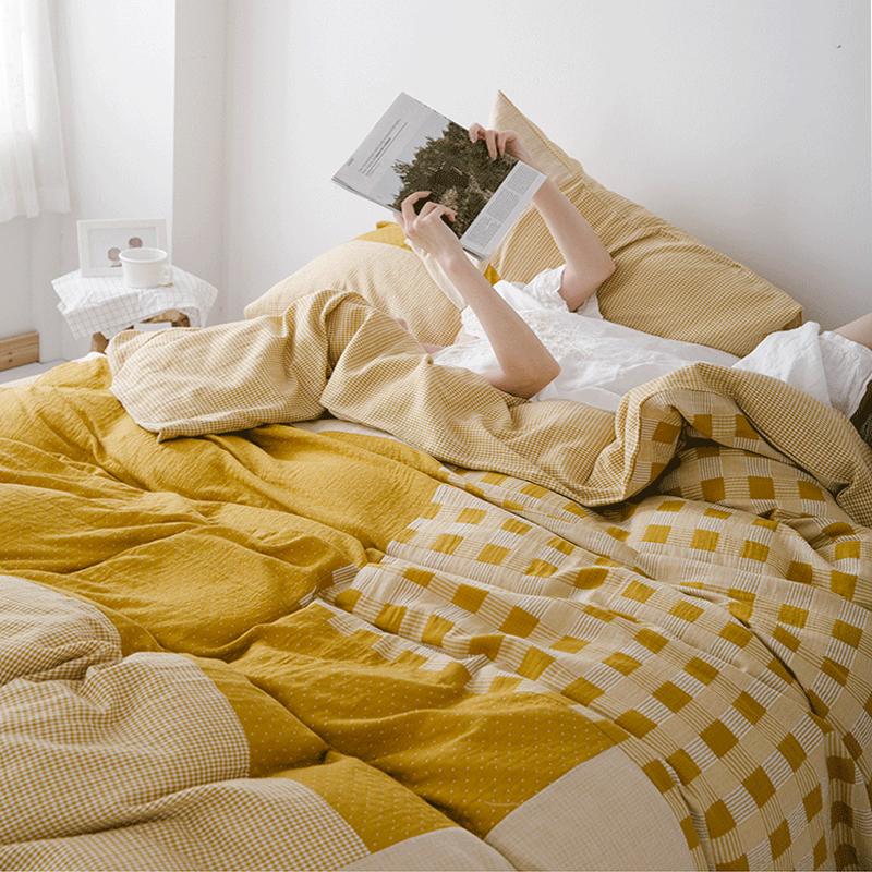 Bộ đồ cotton Một bộ bốn miếng gạc đôi mềm mại, bộ đồ ngủ bằng sợi cotton siêu mềm - Bộ đồ giường bốn mảnh