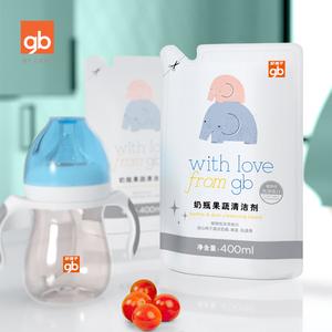 gb好孩子新生儿奶瓶果蔬玩具清洁剂400ml补充装袋装