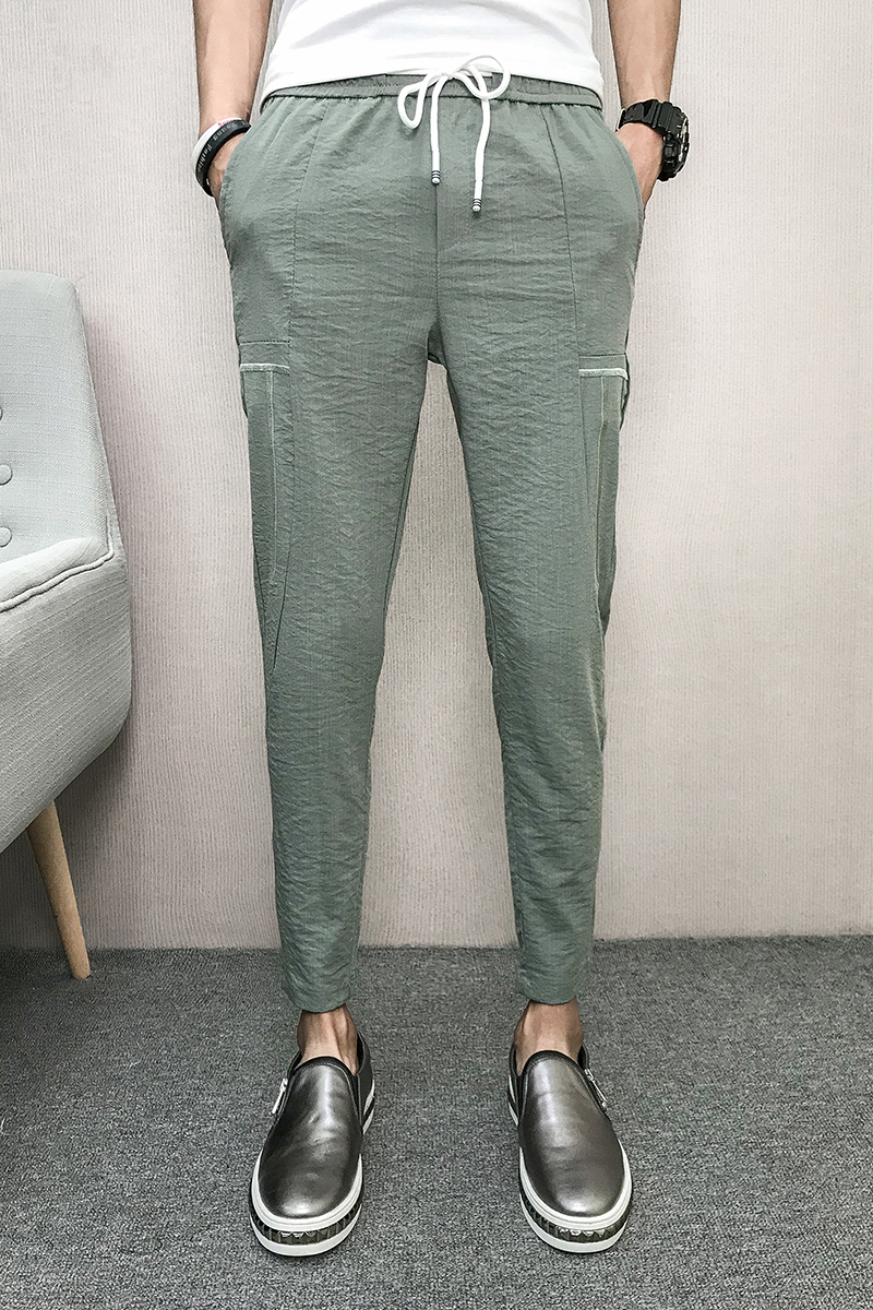 Vibrant With The Same Spiritual Social Group Summer Thin Embroidery Nine Points Pants, Men's Pants, Haren Pants