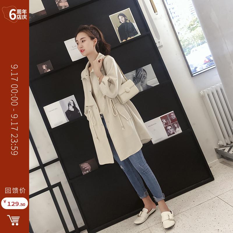 小个子风衣女秋装2018新款韩版宽松休闲百搭气质格子中长款外套薄