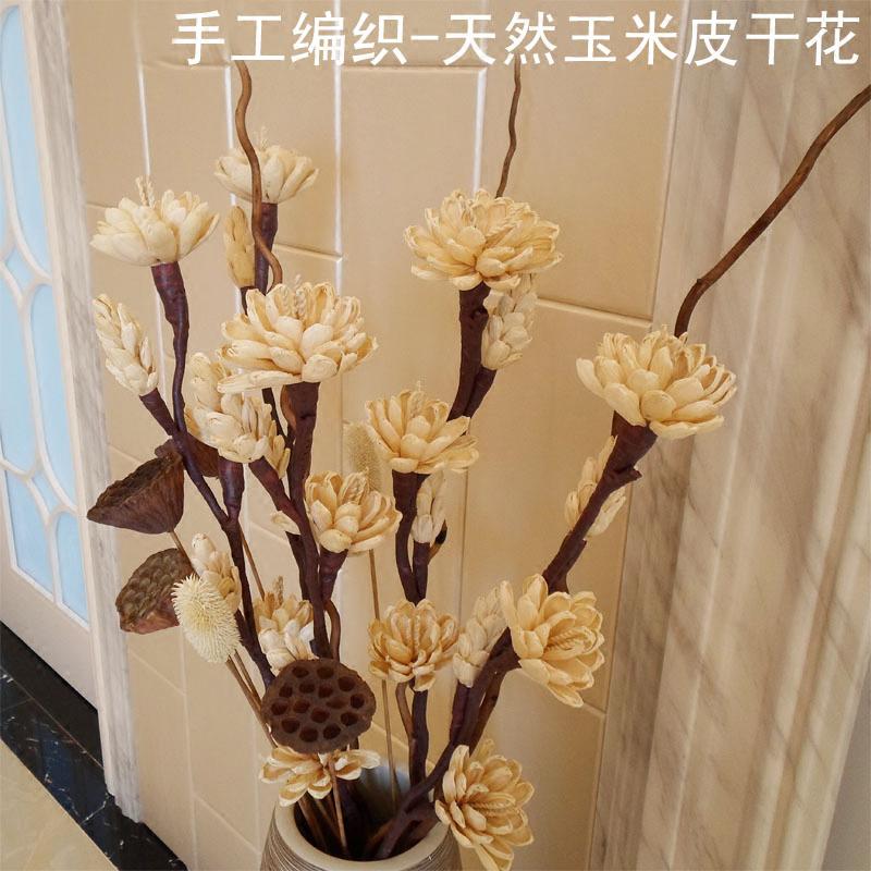 Corn Skin Plant Dry Branches Flower Set Living Room Floor Entrance Decoration Home Vase Decorative Flowers