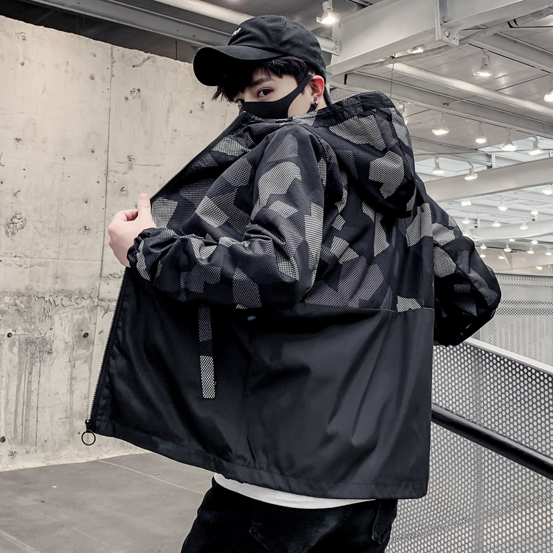 Áo khoác nam mùa xuân và mùa thu xu hướng áo khoác cộng với chất béo cộng với kích cỡ học sinh ngụy trang giản dị áo khoác thể thao - Áo khoác đôi
