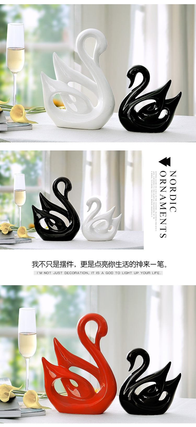 Gold swan furnishing articles wedding gift for wedding gifts ceramic household to decorate the sitting room TV ark, creative valentine 's day