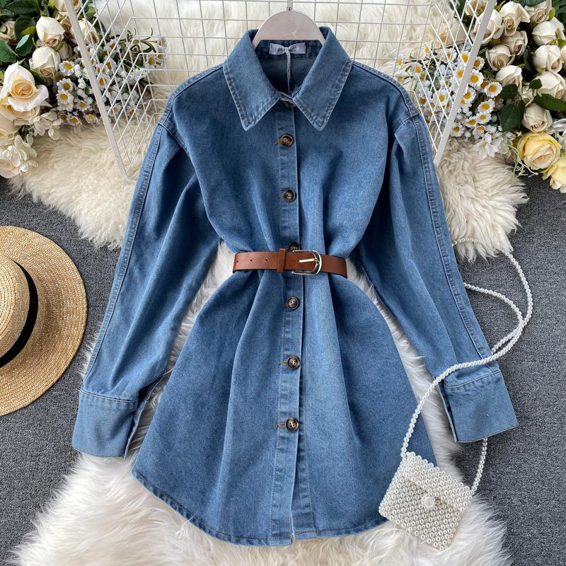 Ретро порт ветер ковбой пальто женщина 2019 новый осень и зима дикий толстые модель ковбой длина рукав длинная модель рубашка волна 609907731554