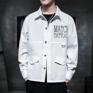男士衬衫2020年新款商务休闲衬衫打底衫个性印花纯色衬衫长袖衬衣