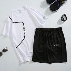 冰丝速干运动套装男夏季短裤跑步休闲运动服两件套速干短袖T恤潮