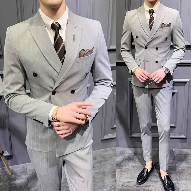西装男套装夏季薄款条纹西服英伦修身双排扣西装三件套新郎婚礼服