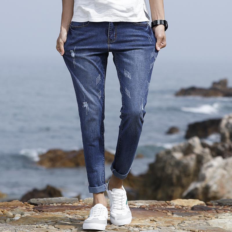 韩版 潮流夏季新款九分牛仔裤   破洞裤