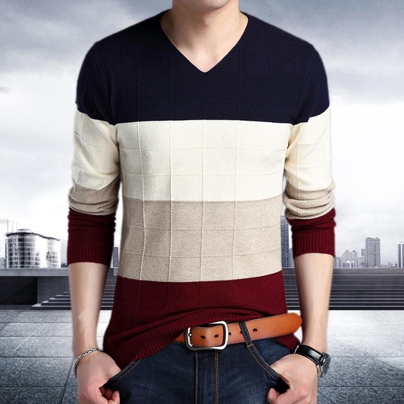 2018春秋新款男士長袖針織衫 休閑潮流青年修身毛衣打底衫上衣服