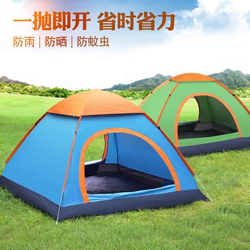 帐篷户外3-4人全自动野营露营账蓬2单人野外加厚防雨晒超轻便速开