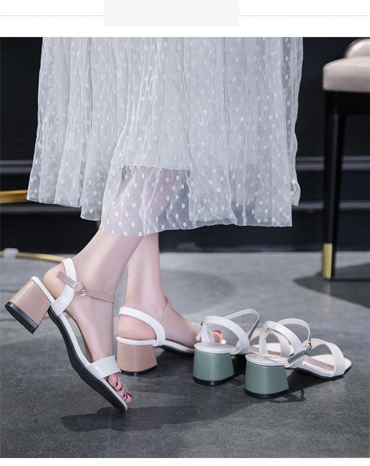 中國代購|中國批發-ibuy99|穿裙子配的鞋夏天2021新款百搭仙女中跟时装高跟鞋一字扣凉鞋女夏