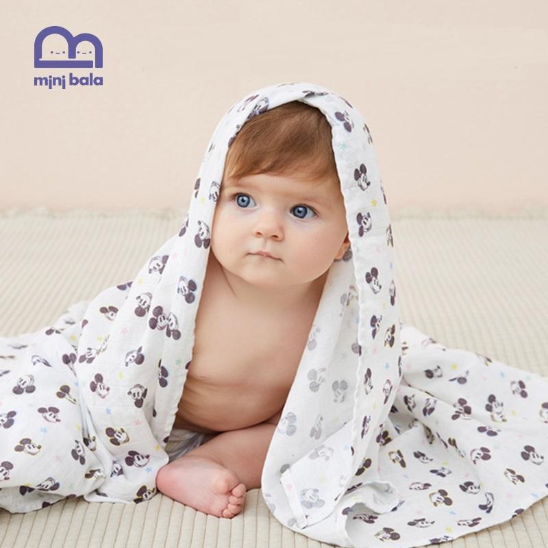 迷你巴拉巴拉婴儿浴巾纯棉纱布超柔吸水儿童浴巾包巾宝宝米奇被子