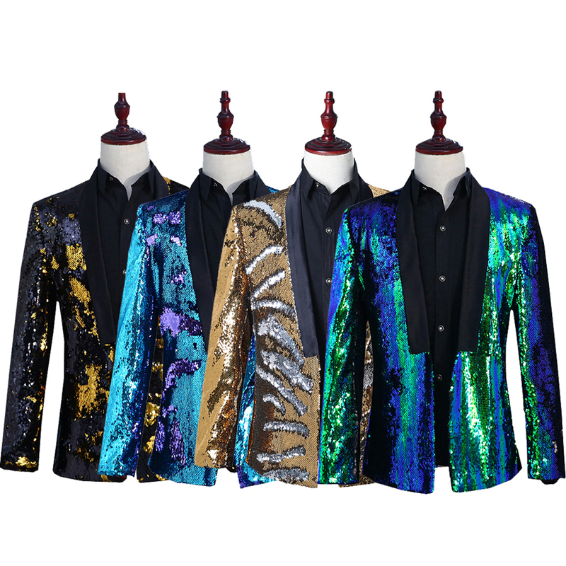 Men's Jazz Dance Costumes Men two-color sequins suit stage costume suit nightclub bar DJ singer host fashion jacket