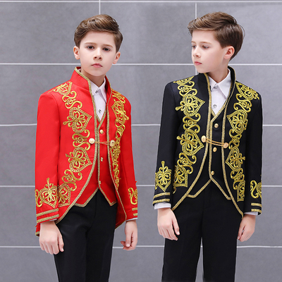Boys Jazz Dance Costumes Children Golden Flower Loving Three-piece vest European Court Dress Prince Charming stage drama Costume
