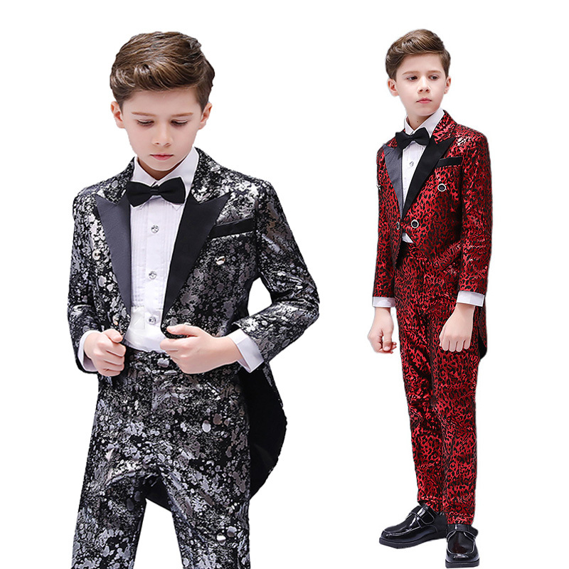 Boys Jazz Dance Costumes Children and boys leopard-print Tuxedo Suit fashionable handsome command suit piano stage show Costume