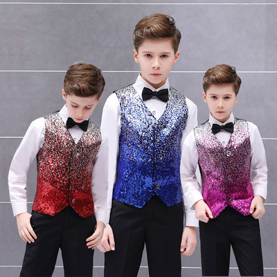 Boys Jazz Dance Costumes Colorful men's positioning gradient sequins waistcoat boy stage presenter recitation performance horse clip children walk show suit