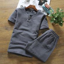 中国风亚麻套装男士棉麻短袖短裤
