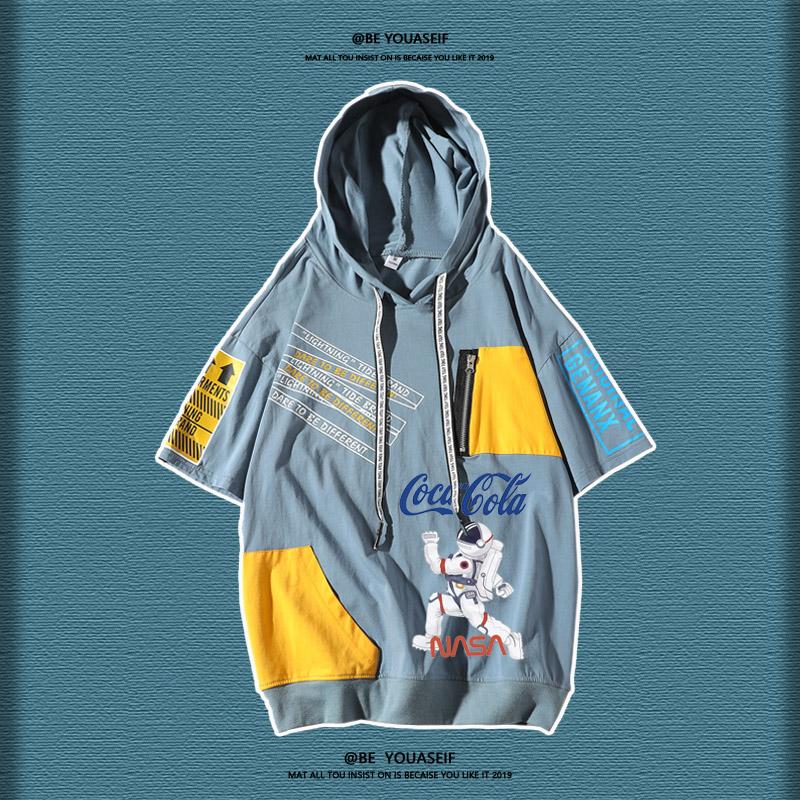 NASA宇航员联名短袖T恤男港风夏季新款时尚百搭时尚ins情侣装半袖(NASA宇航员联名港风短袖T恤男)