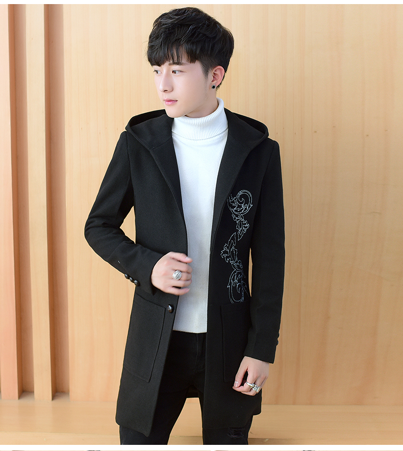 2020 autumn and winter new men's windshields in the long coat men's casual Korean version of the trend youth hair coat 42 Online shopping Bangladesh