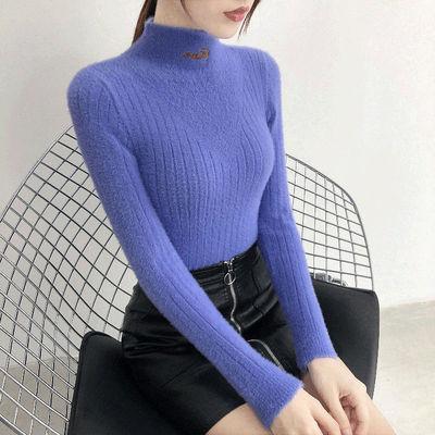秋款水貂绒毛衣女士长袖套头新款洋气短款内搭外套半高领打底衫鞋