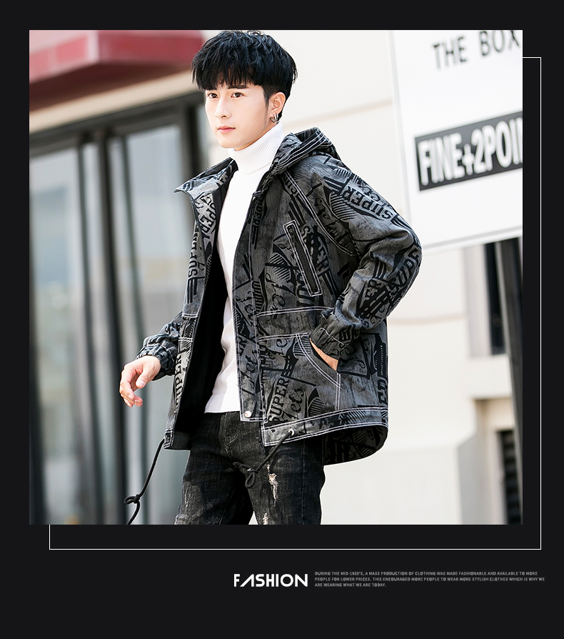 Spring new denim jacket men's trend handsome workwear ins coat boys Korean version of loose harbor wind denim 27 Online shopping Bangladesh