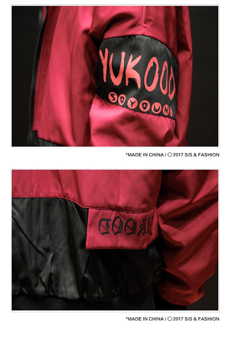 秋装新款日系棒球领拼色外套男士印花加大码夹克JK12P80