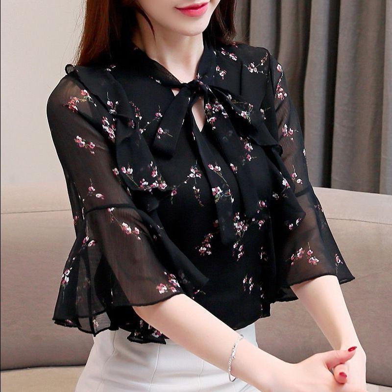 雪纺衫女衬衫女夏季2020新款韩版时尚气质宽松显瘦女士短袖上衣潮