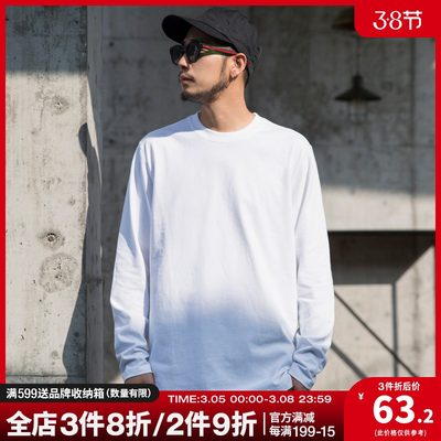 Stubborn studio spring pure cotton t-shirt men's long-sleeved solid color inner t-shirt loose top white bottoming shirt tide