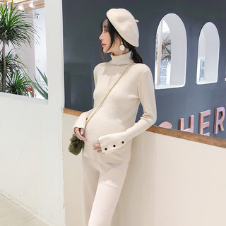 Pregnant women's turtleneck sweater with a short autumn and winter hedging to make a base Western style winter slim knit sweater women's winter top