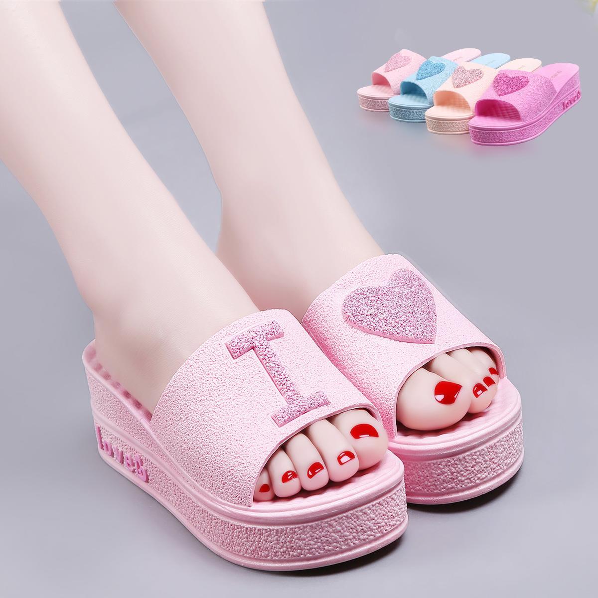 夏天浴室拖鞋夏季女士内增高厚底增高防滑凉鞋家居洗澡室内女跟