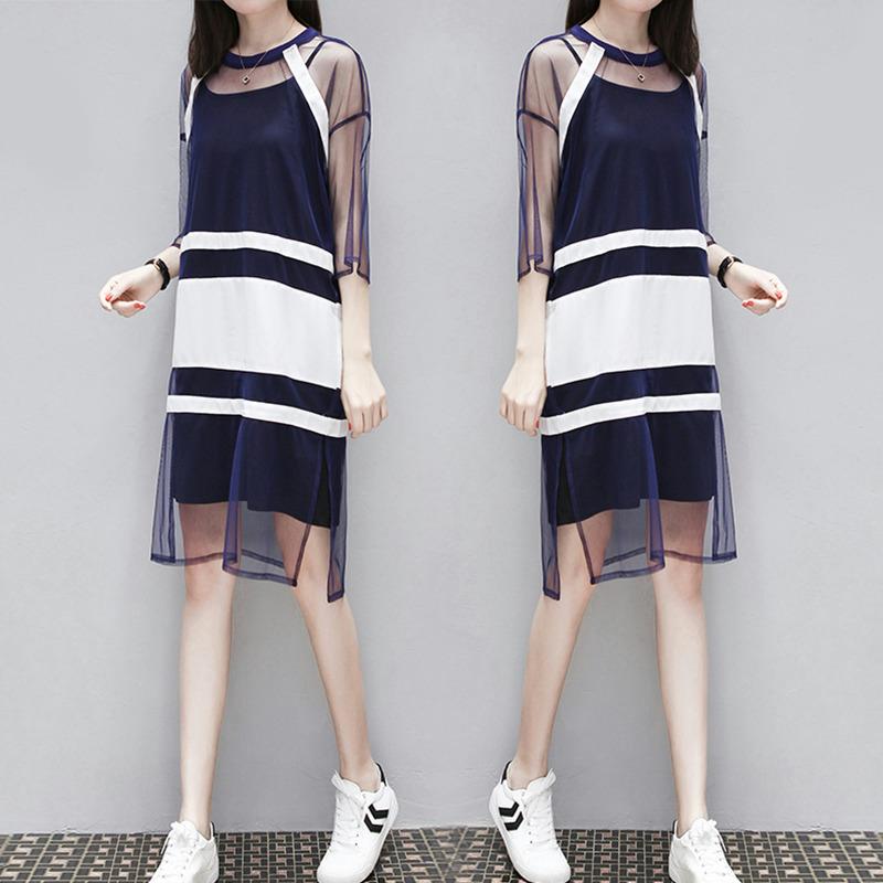 欧洲站吊带裙子夏女2018新款遮肚子连衣裙减龄网纱港味套装两件套