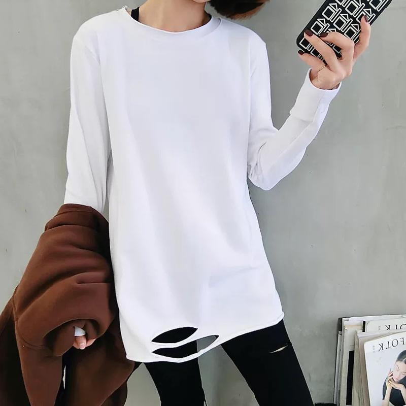 2019初春秋装新款衣服上衣破洞长袖T恤女中长款下摆服打底白色衫