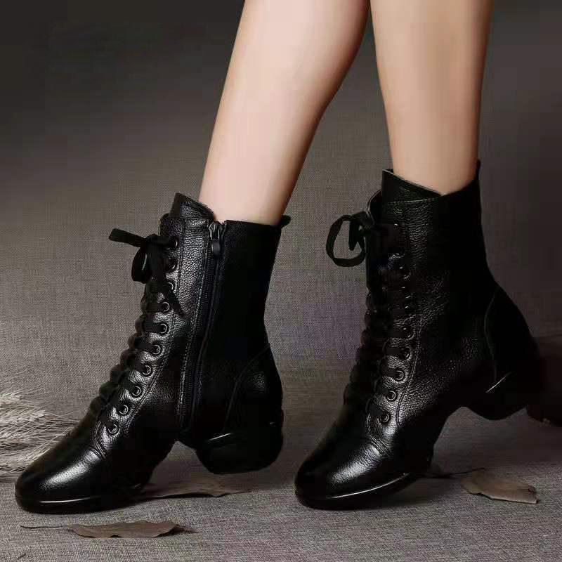 雷博真皮舞蹈鞋女鞋广场舞鞋子爵士秋冬季跳舞鞋女软底水兵舞蹈靴