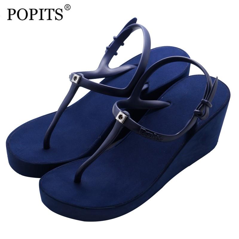 Popits夹脚凉鞋2021新款7CM女高跟厚底坡跟流行时尚度假绑带夏(Popits夹脚凉鞋2021新款高跟厚底)