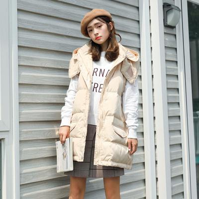 冬季时尚韩版加厚加长马甲羽绒服