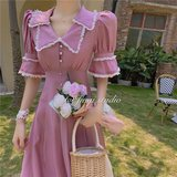 Xian Qi lantern sleeve dress ankle taro French lavender dress child super fairy Sen Department of summer was thin waist
