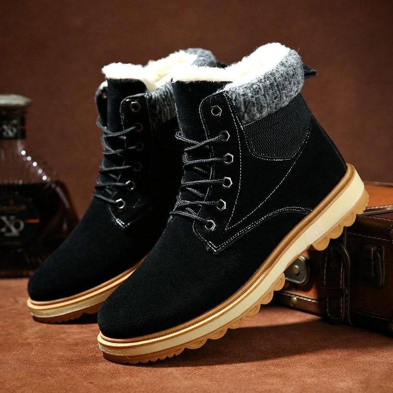 男士靴男冬季新款高帮加绒保暖青年雪地加厚百搭保暖棉靴棉鞋短靴