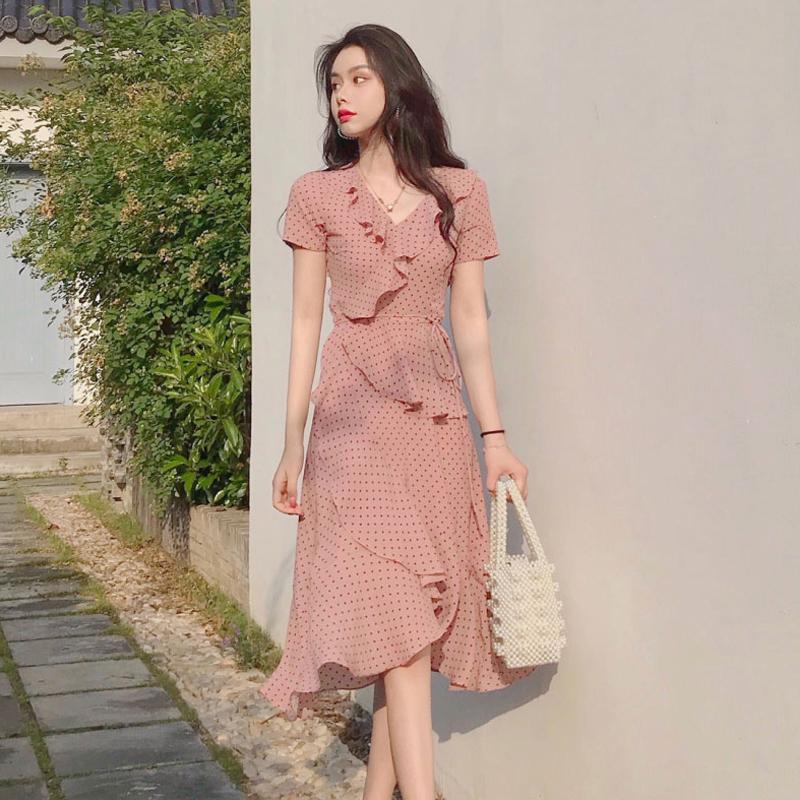 2019流行裙子很仙的法国小众法式复古山本超仙碎花雪纺连衣裙女夏