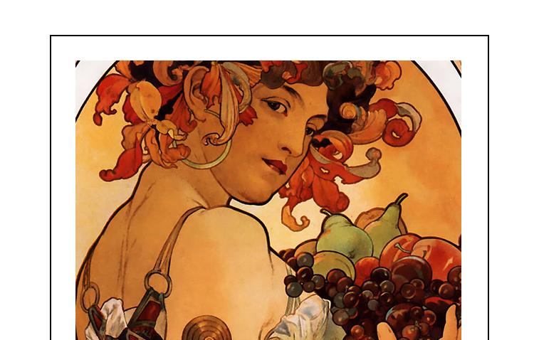穆夏油画高清图片电子版素材教学临摹喷绘打印装饰画芯插图(1)