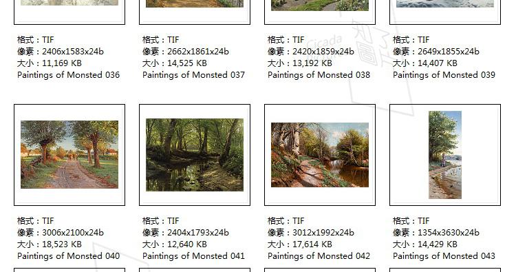 蒙森德 油画高清图片风景画大图教学临摹喷绘打印装饰画画芯插图(31)