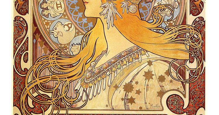 穆夏油画高清图片电子版素材教学临摹喷绘打印装饰画芯插图(9)