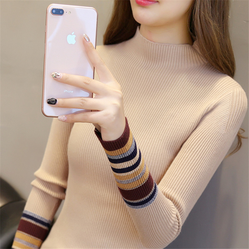 Half-neck sweater women 2018 autumn and winter new short paragraph Slim black pullover knit bottoming shirt women long sleeves inside